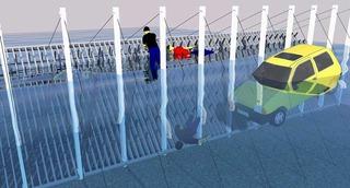 フェンスタイプの漂着避難装置の配置例