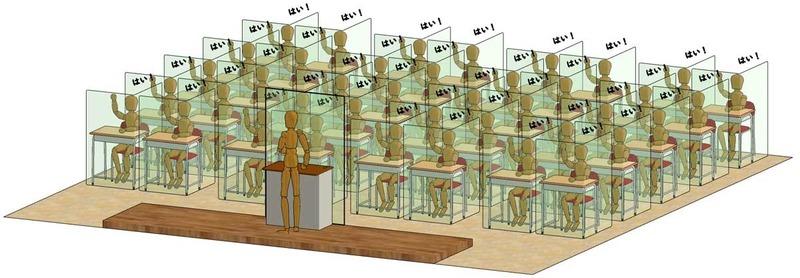 学校の教室内の感染防止の為の構成例