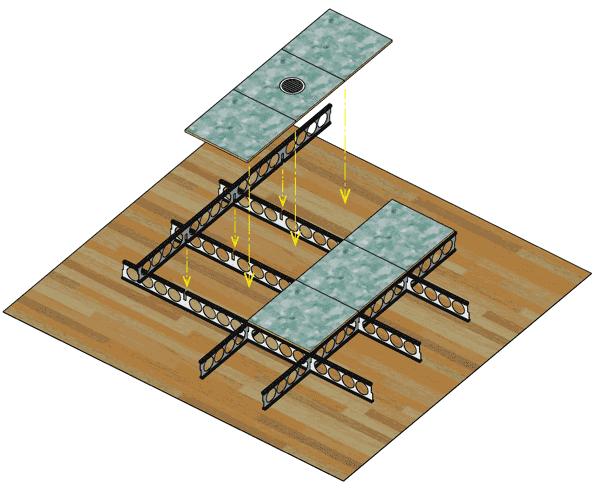 避難所内でのコロナウィルス感染防止方法の為の浮床ユニット簡易方式