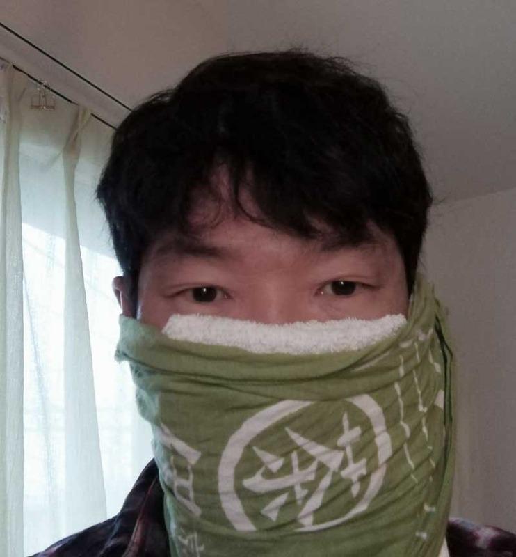 ハンカチをフィルタ—に用いたマスク